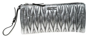 Miu Miu Leather Fabric Silver Clutch