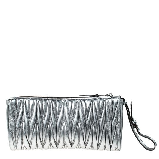 Miu Miu Leather Fabric Silver Clutch Image 1