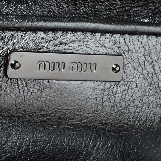 Miu Miu Leather Fabric Silver Clutch Image 7
