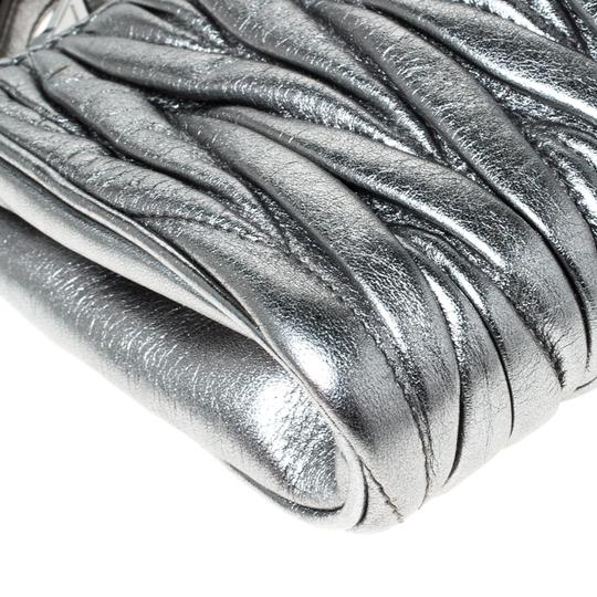 Miu Miu Leather Fabric Silver Clutch Image 8