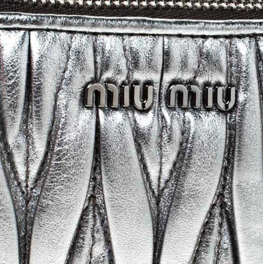 Miu Miu Leather Fabric Silver Clutch Image 9