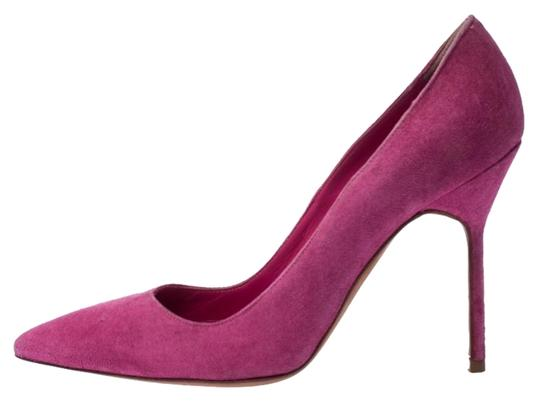 Manolo Blahnik Pointed Toe Suede Leather Pink Pumps Image 0