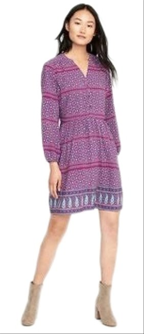 Item - Pink Purple Paisley Print Henley Short Casual Dress Size 2 (XS)