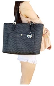 Michael Kors Womens Signature Silver Tote in Black