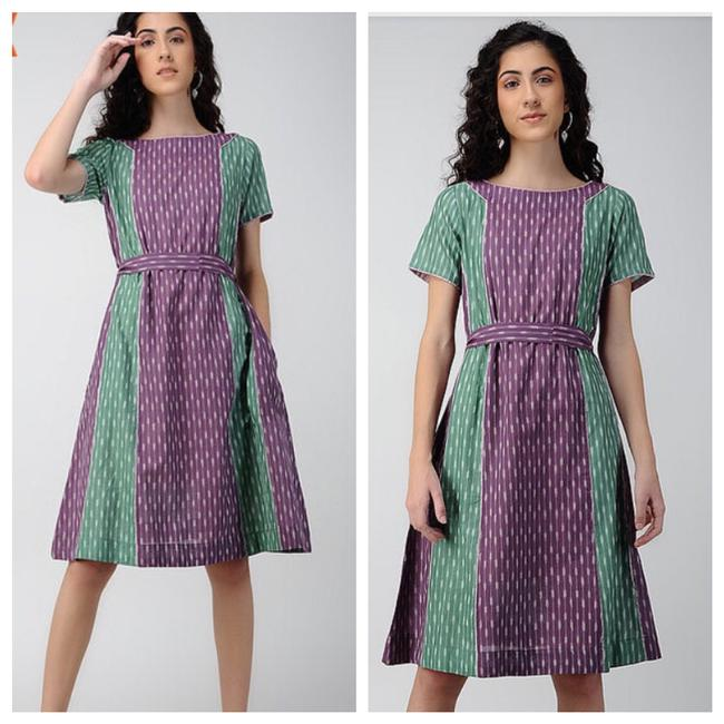 Preload https://img-static.tradesy.com/item/26167452/anthropologie-green-purple-ikat-print-mid-length-short-casual-dress-size-4-s-0-0-650-650.jpg