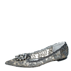 Dolce&Gabbana Lace Crystal Embellished Pointed Toe Ballet Silver Flats