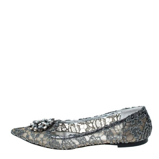 Dolce&Gabbana Lace Crystal Embellished Pointed Toe Ballet Silver Flats Image 1