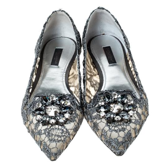 Dolce&Gabbana Lace Crystal Embellished Pointed Toe Ballet Silver Flats Image 2