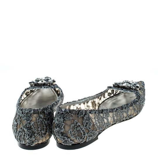 Dolce&Gabbana Lace Crystal Embellished Pointed Toe Ballet Silver Flats Image 3