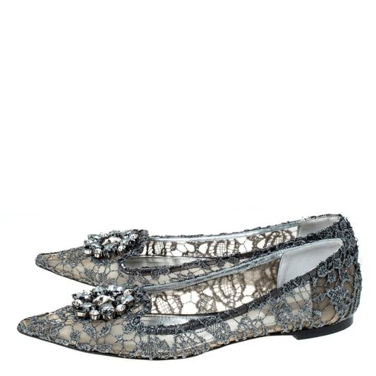 Dolce&Gabbana Lace Crystal Embellished Pointed Toe Ballet Silver Flats Image 4