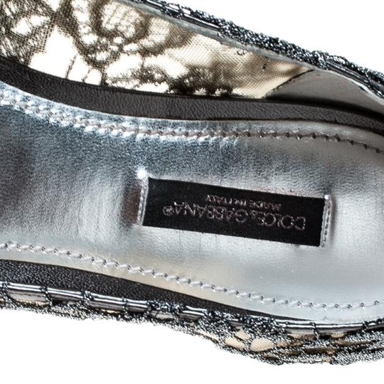 Dolce&Gabbana Lace Crystal Embellished Pointed Toe Ballet Silver Flats Image 5