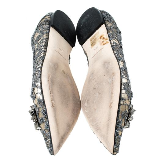 Dolce&Gabbana Lace Crystal Embellished Pointed Toe Ballet Silver Flats Image 6