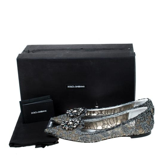 Dolce&Gabbana Lace Crystal Embellished Pointed Toe Ballet Silver Flats Image 7
