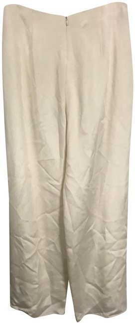Flores & Flores Silk Monochrome Luxury Wide Leg Pants Ivory Image 0