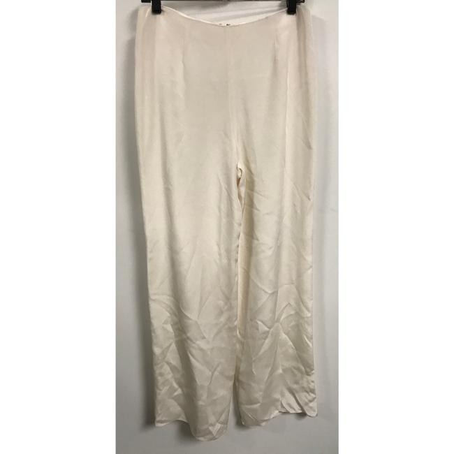 Flores & Flores Silk Monochrome Luxury Wide Leg Pants Ivory Image 1