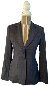 BCBGMAXAZRIA Career Faux Pockets Denim Blue Blazer