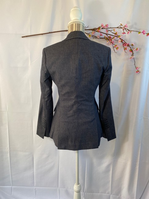 BCBGMAXAZRIA Career Faux Pockets Denim Blue Blazer Image 2