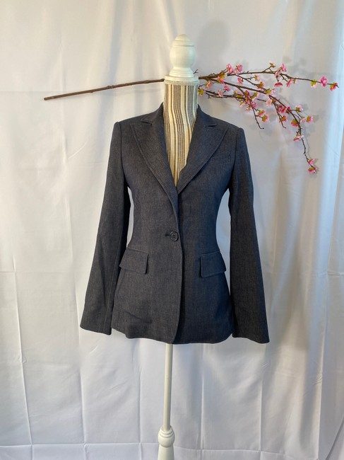 BCBGMAXAZRIA Career Faux Pockets Denim Blue Blazer Image 3