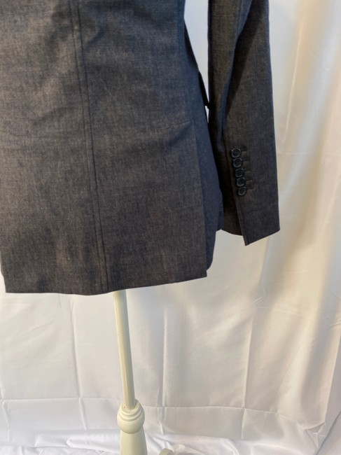BCBGMAXAZRIA Career Faux Pockets Denim Blue Blazer Image 4