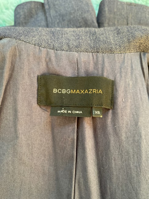 BCBGMAXAZRIA Career Faux Pockets Denim Blue Blazer Image 8