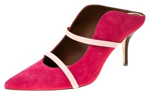 Malone Souliers Suede Leather Pointed Toe Pink Sandals