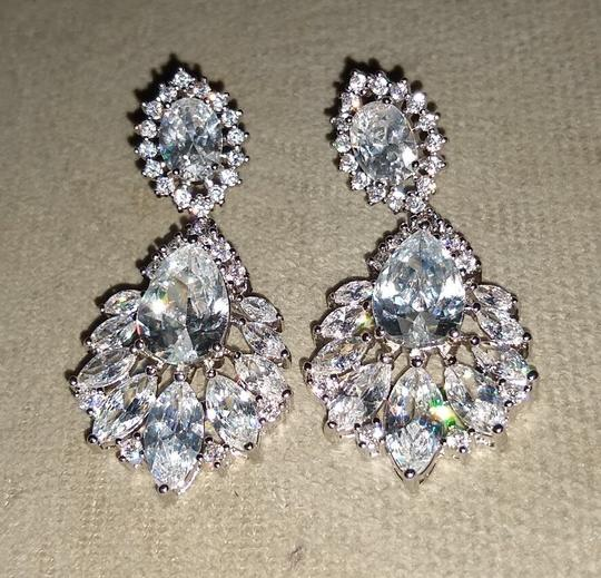 Earring Bridal Wedding Crystal Silver Dangle Fall Bridesmaid Bride Prom Clear Cluster Leaf Vine Cz New Bling Earring Bridal Wedding Crystal Silver Dangle Fall Bridesmaid Bride Prom Clear Cluster Leaf Vine Cz New Bling Image 2