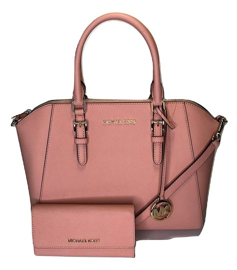Preload https://img-static.tradesy.com/item/26167561/michael-kors-large-top-zip-ciara-and-matching-trifold-wallet-pale-pink-saffiano-leather-satchel-0-0-540-540.jpg