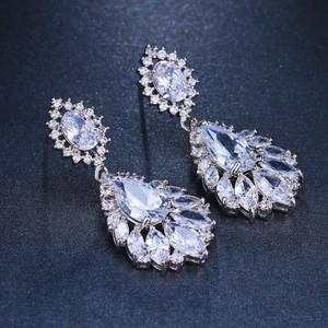 Crystal Silver Dangle Bridesmaid Bride Prom Clear Cluster Leaf Vine Cz New Bling Earrings