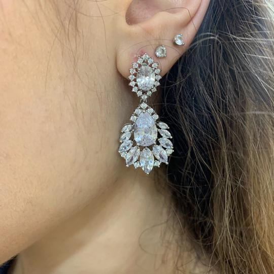 Crystal Silver Dangle Bridesmaid Bride Prom Clear Cluster Leaf Vine Cz New Bling Earrings Image 2