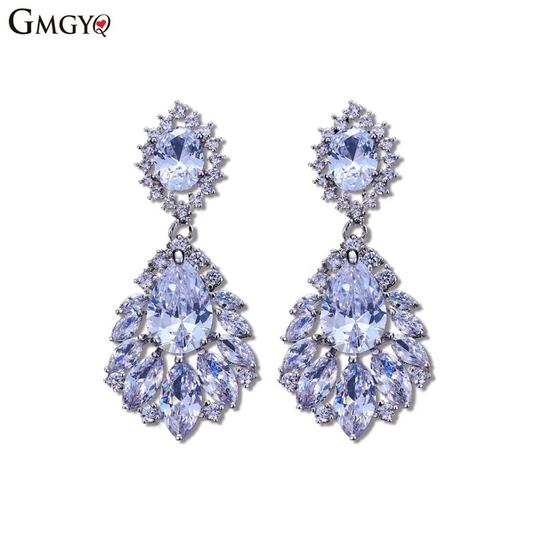 Crystal Silver Dangle Bridesmaid Bride Prom Clear Cluster Leaf Vine Cz New Bling Earrings Image 3