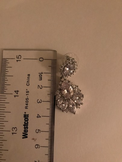 Crystal Silver Dangle Bridesmaid Bride Prom Clear Cluster Leaf Vine Cz New Bling Earrings Image 4