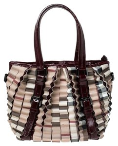 Burberry Canvas Pvc Patent Leather Tote in Beige