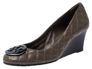 Tory Burch Quilted Leather Logo Wedge Grey Pumps