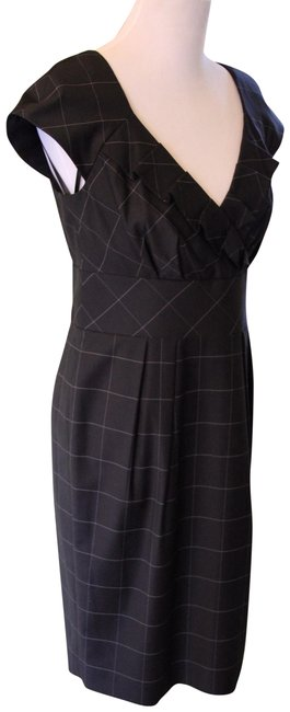 Item - Black And White Plaid Patterned Business Mid-length Work/Office Dress Size 8 (M)