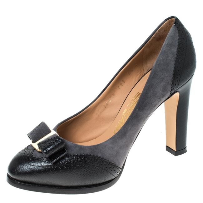 Item - Grey Grey/Black Leather and Suede Taylor Pumps Size EU 37 (Approx. US 7) Regular (M, B)