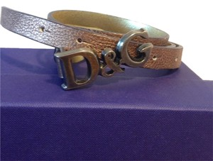 Dolce&Gabbana Two tone Gold D&G leather belt