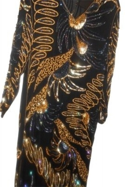 Preload https://item5.tradesy.com/images/black-gold-with-multi-colors-hand-beaded-designs-silk-long-night-out-dress-size-10-m-26169-0-0.jpg?width=400&height=650
