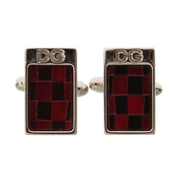 Item - Silver D31512 Brass Black Red Stone Cufflinks/Studs