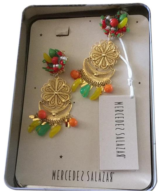 Item - Gold Colorful Fruity Bougainvillea Earrings