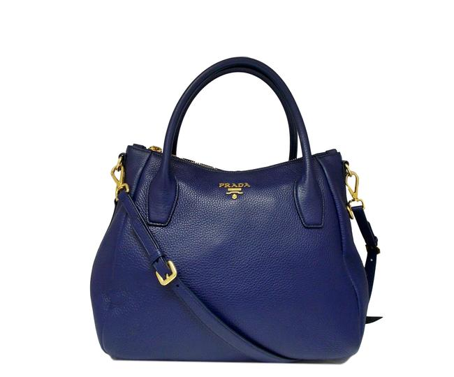 Prada Double Tote Blue Leather Shoulder Bag Prada Double Tote Blue Leather Shoulder Bag Image 1