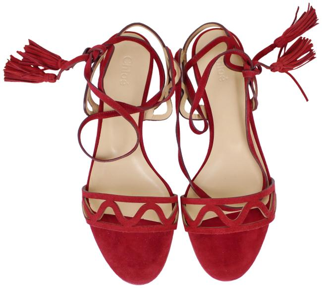 Item - Rubis Red Ia356 Ghillie Lace-up Laser Cut Vamp Strap Sandals Size EU 37 (Approx. US 7) Regular (M, B)