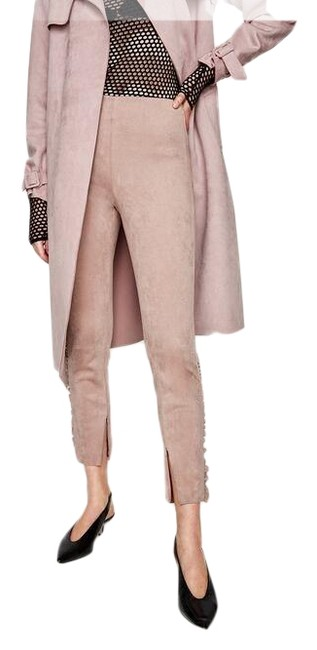 Item - Beige Pink Faux Suede with Frills Leggings Size 8 (M, 29, 30)