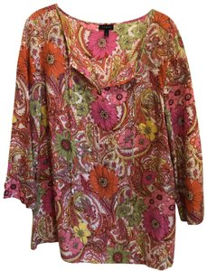Talbots Top Multi floral