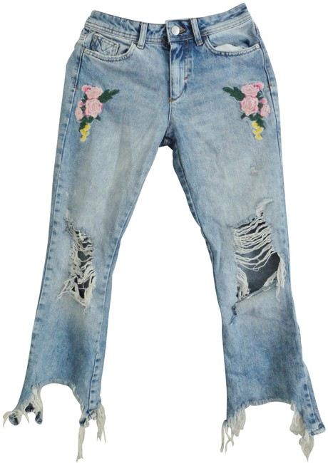 Item - Blue Pink White Distressed Capri/Cropped Jeans Size 27 (4, S)