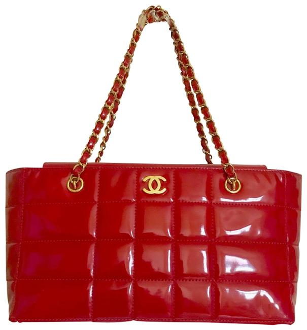 Item - Shoulder Bag Gold Chain Red Patent Leather Tote