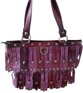 Sharif Leather Suede Brass Hardware Studded Decorations Tote in purple