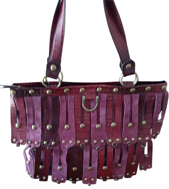 Item - Studded Zip-top Purple Leather Tote