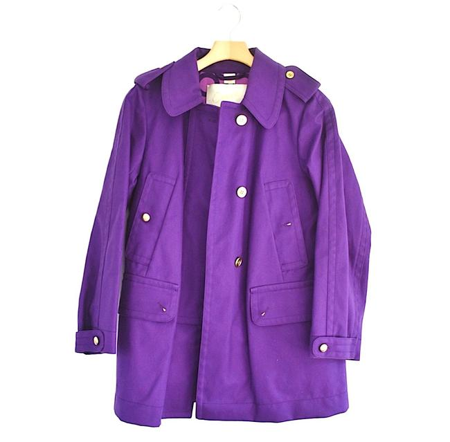 Item - Purple Style Button Down Longsleeve Waist Trench S Jacket Size 6 (S)
