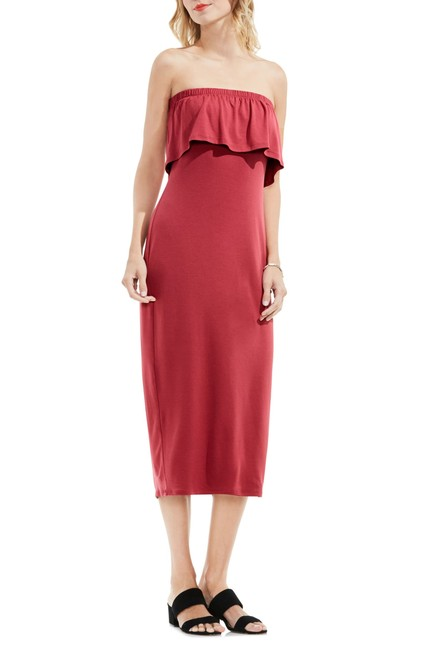 Item - Sunset Rose Ruffle Off The Shoulder Midi Mid-length Short Casual Dress Size 14 (L)