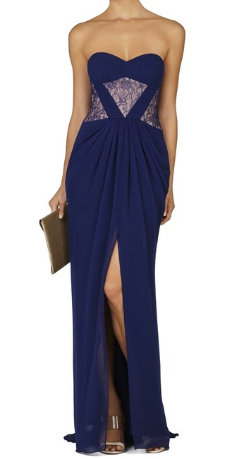 Item - Blue Bcbg Natalea Strapless Ruched-bodice Gown Navy Long Formal Dress Size 2 (XS)